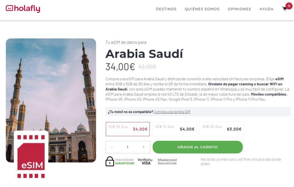esim arabia saudi holafly sin pagar roaming